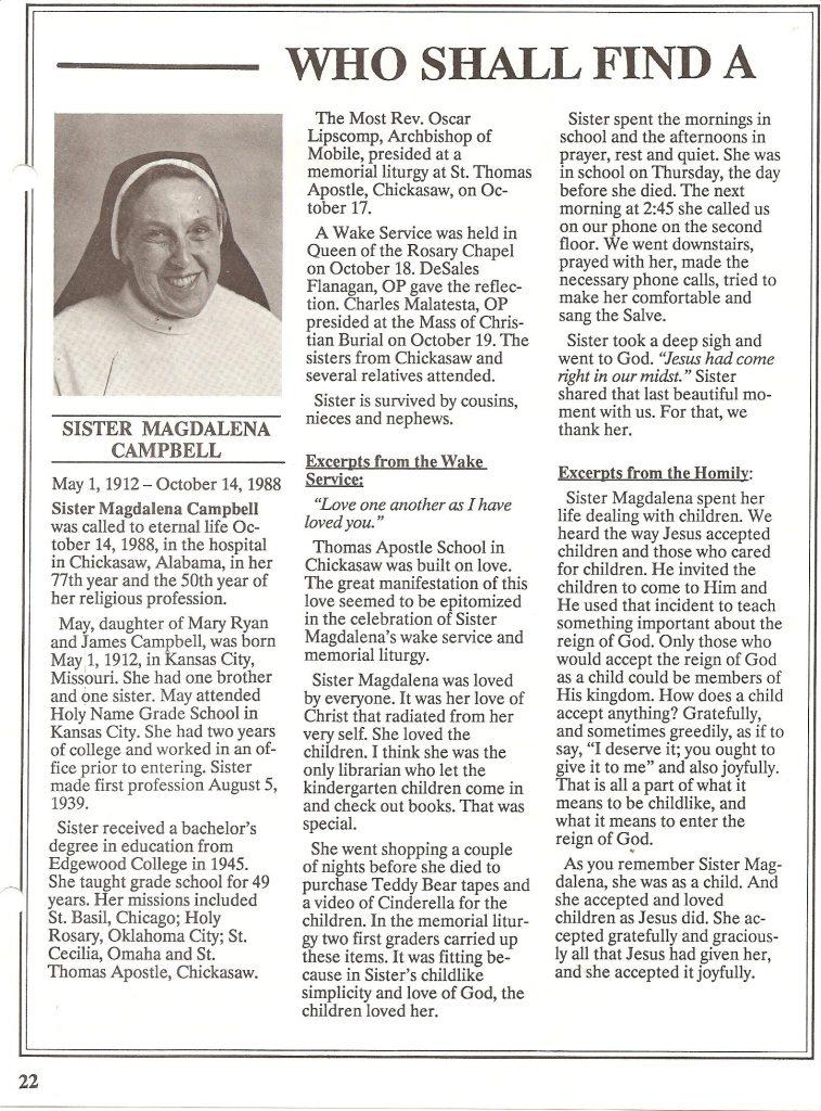 Sister Magdalena Campbell