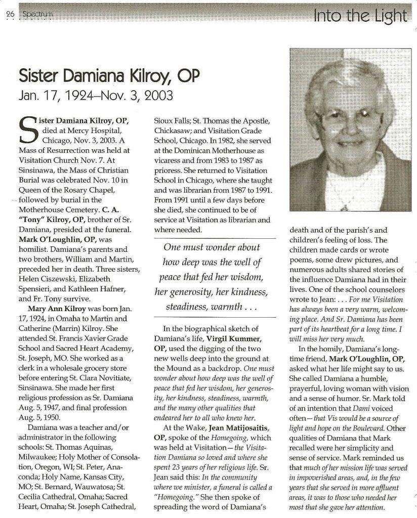Sister Damiana Kilroy