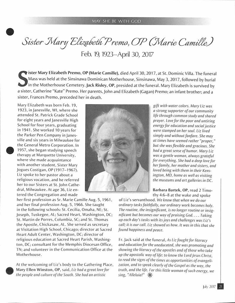 Sister Mary Elizabeth Premo